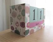 Perpetual Wooden Block Calendar - Big Artistic Pastel Doodle Flowers