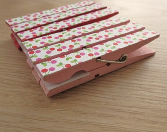 Clothespin Clips Set of 6 -Pink and Red Cherries - Optional Magnets