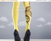 15%OFF/endsJUN28/ Yellow Snake Closed Toe one size full length printed tights pantyhose tattoo socks tattoo tights