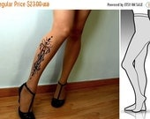 15%SALE/endsAUG30/ small/medium sexy Tattoo 01 tattoo tights / stockings / full length / pantyhose / nylons CafeLate