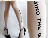 SALE25%off/// naughty MIND the GAP Tattoo thigh-high socks white