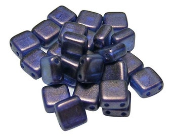 Czech Tile Beads 6mm Ultramarine Halo 2 Hole Tile Beads 25pcs (5123) Czech Glass Beads || Czechmates