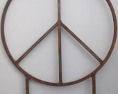 Peace Sign Rustic Garden Sculpture