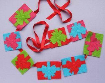 Gifts Garland, felt Christmas garland
