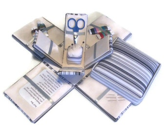 Etui Sewing Kit Needlwork Box Black and White Stripes