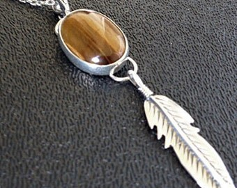 Sterling Silver and Tiger Eye Feather Pendant, Sterling Tiger Eye Necklace, Sterling Feather Necklace