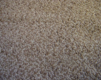 Vintage Mid century modern heavy weight fabric, taupe, brown, boucle, swirls, drapery, upholstery