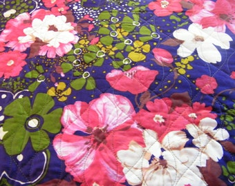 Vintage quilted polished cotton fabric, jem colors, flowers, purple, red, green