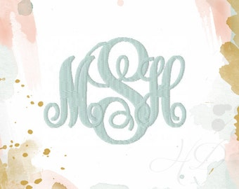 """Vine Embroidery Font 2"""" & 3"""" inch Embroidery Fill Bold Monogram Font Classic Vine Monogram Font BX instant download 4x4 5x7 6x10 hoop PES"""
