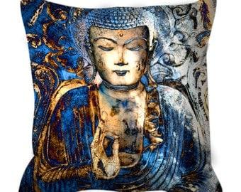 Blue Buddha Throw Pillow - Inner Guidance - Blue and Brown Buddhist Art Pillow - Zen Home Decor
