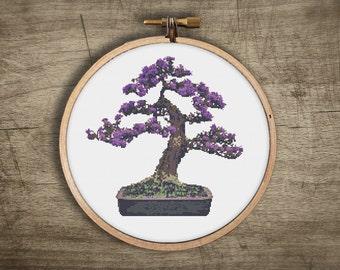 asian bonsai blossom tree cross stitch pattern ++ vintage retro modern ++ pdf  INsTAnT DOwNLoAD ++ diy ++ bonsai tree ++ handmade design