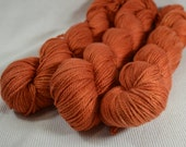 CLEARANCE HALF OFF Organic Cotton and Bamboo Hand Dyed Worsted Weight by Gemini Yarn Hollow Spicy Pumpkin Semi Solid