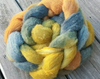 NEW Yarn Hollow Hand Dyed Polypay Roving Coy Koi Multi Color Spin American Wool