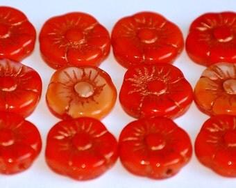 11mm HAWAIIAN ORANGE RED Shine Capri Czech Flower Beads (12 Beads) LEA21