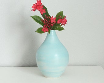 Modern Porcelain Vase in Turquoise Blue - Ceramic Bud Vase in Seafoam - Blue Handmade Pottery Vase