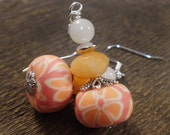 Orange polymer clay flower beads, jade stone, white quartz and silver handmade earrings