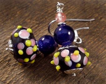 Cherry quartz stone, blue, pink, yellow lamp work glass and silver handmade earrings