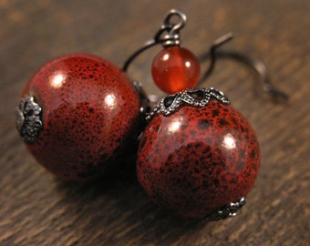 Red ceramic beads and jade stone handmade earrings