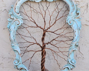 Framed tree wall art / wire sculpture Unique Art Object Tree Abstract Sculpture / original artwork / large wall art / trees wall decor