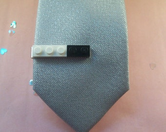 Black and White Building Brick Tie Clip