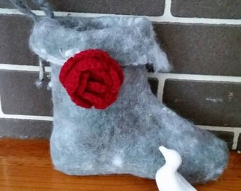 Small natural hand felted Christmas stocking with burgundy hand crocheted rose.