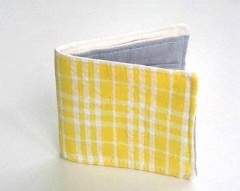Vegan Wallet, Slim Cotton Wallet  in Yellow Seersucker, Bifold Wallet, Preppy Summer Wallet, for men and women