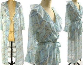 Boho Maxi Dress / Vintage 1970s Bohemian Hippie Dress in Sheer Floral Cotton Gauze / Long Wrap Around Dress with Flutter Collar