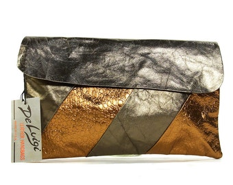 80s Metallic Leather Clutch Bag / Vintage 1980s NOS Gold & Bronze Soft Leather Purse / Optional Shoulder Strap / Matching Cosmetic Bag