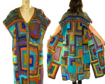 90s Hand-Knit Maxi Sweater Vest / Vintage 1990s Handmade Long Cardigan / Hippie Boho Textile Art to Wear Granny Square Artsy Blanket Sweater