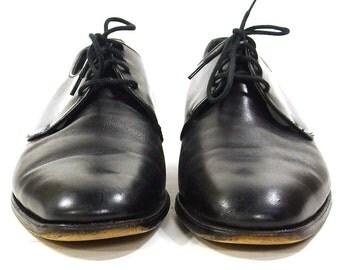 90s Bally Oxfords / Vintage 1990s Black Leather Lace Up Wingtip Loafers / Classic Preppy Dress Shoes / Men's Size 11.5 / Women's Size 13