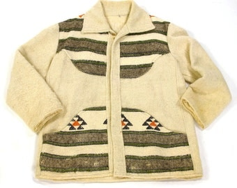70s Southwestern Blanket Jacket / Vintage 1970s Ethnic Native American / South American Style Ranch Coat / Handwoven Wool / Large