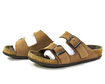 80s Birkenstocks / Vintage 1980s Brown Leather Arizona Style Birks / Well Loved Open Toe Slip On Jesus Sandals / Size 35 / 4.5 or 5