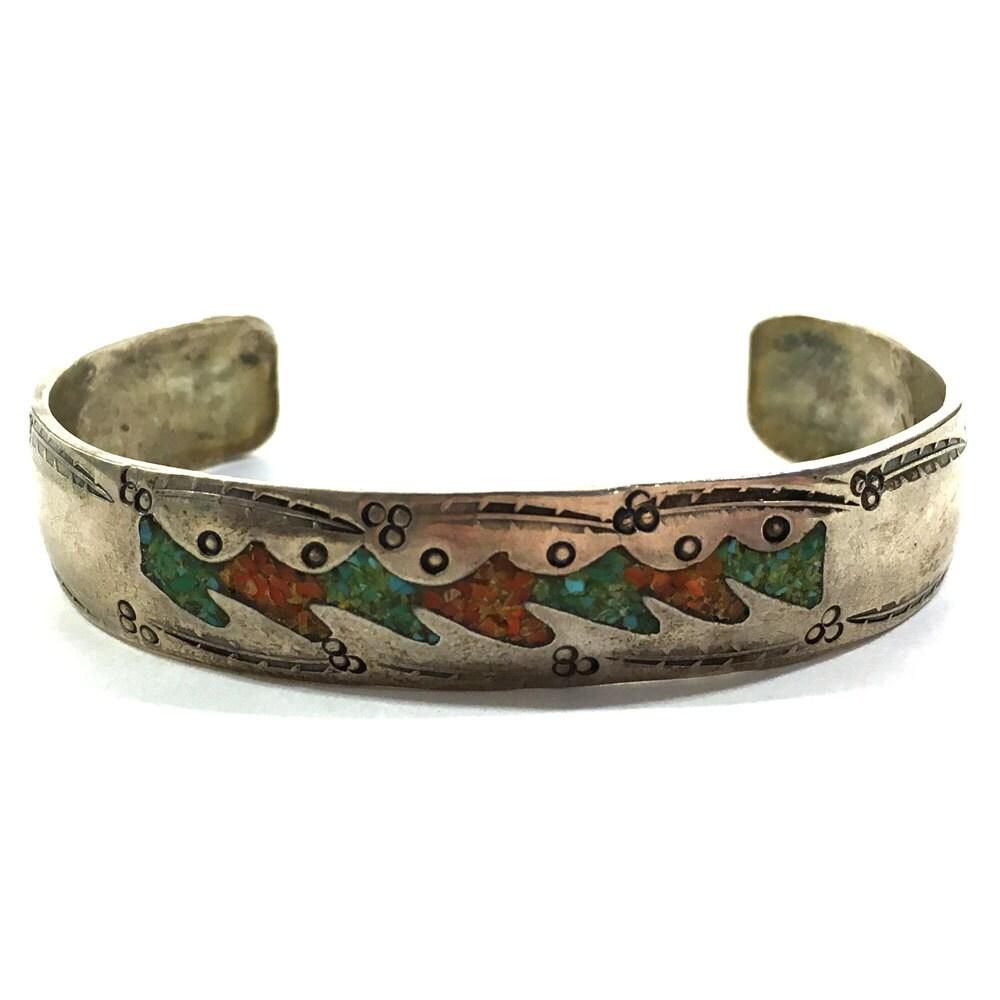 Native American Bracelet Vintage 1940s Sterling Silver
