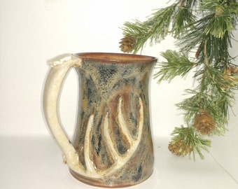 16 oz deer antler mug handmade stoneware pottery gift for the hunter coffee camoflauge 009
