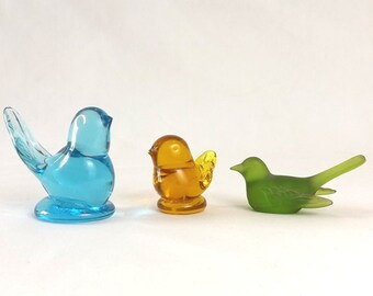 3 Vintage Art Glass Bird of Happiness Figurines, Westmoreland, Green, Blue & Amber, Instant Collection