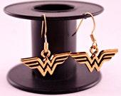 Gold Wonder Woman Pierced Earrings Hypoallergenic