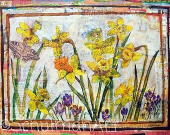 "collage art   ORIGINAL flower painting   CANVAS art   mixed media art   yellow Daffodil flowers   floral art   butterfly art   purple 18x24"""
