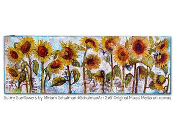 ORIGINAL Sunflower art | canvas art | mixed media collage painting | Sultry Sunflowers | 2x5 feet