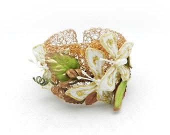 Wire Crochet, Crochet Bracelet, Wide Cuff Bracelet, Butterfly Jewelry, Gold and White, Fantasy Jewelry, Crochet Cuff, Woodland Jewelry