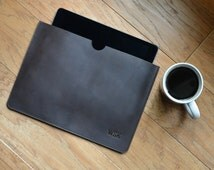 Personalized Leather iPad Tablet Case Sleeve with Monogram Gift for Man Groomsmen Groom Wedding Boyfriend Husband Brother Dad Grad