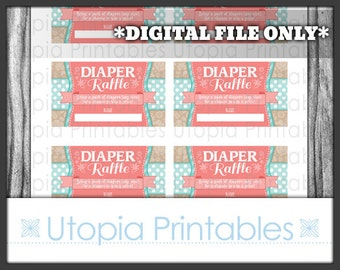 Teal Coral Flower Diaper Raffle Ticket Card Insert Baby Shower Polka Dot Floral Theme Party Favor Digital Printable Aqua Blue Turquoise Tan