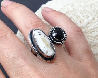 White Buffalo and Onyx Open Ring - Adjustable Ring - Handcrafted Sterling Silver Stone Ring - Metalsmith Dual Stone Ring - Black and White