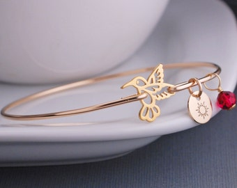 Gold Hummingbird Jewelry, Custom Hummingbird Bracelet, Gold Bangle Bracelet, Bird Jewelry
