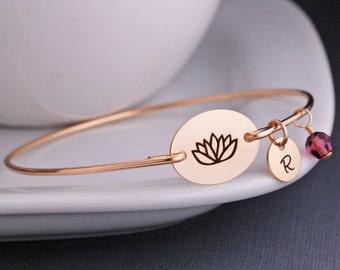 Lotus Flower Jewelry, Custom Yoga Bracelet, Personalized Bangle Bracelet, Yoga Jewelry, Jewelry, Wellness Jewelry, Inspirational Gift