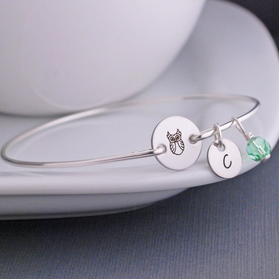 Owl Jewelry, Owl Bangle Bracelet, Silver Personalized Bracelet, Chi Omega Jewelry