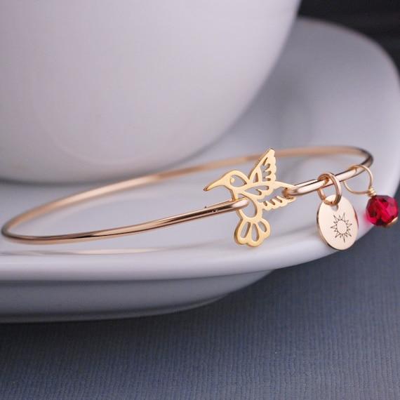 Gold Hummingbird Jewelry, Hummingbird Bracelet, Gold Bangle Bracelet, Bird Jewelry