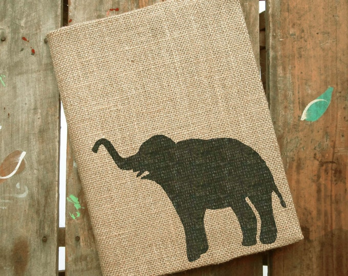 Miss Baba The Elephant -  Burlap Journal  Refillable -  Notebook included - Composition Notebook Cover - Elephant  Journal - Sketchbook