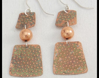CAMILLE - Handforged Textured Patinated Copper and Sterling Silver Long Earrings