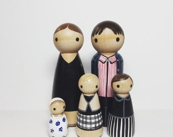Custom Peg Doll Family of 5 - Peg People painted to match your photo or descriptions