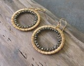 Reserved for Michelle.  Pyrite and gold wire wrapped hoops marked down thirty percent. SALE